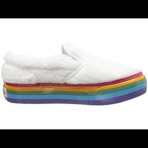Vans Slip On Shearling Rainbow Platform Sneakers
